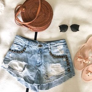 ZARA Ripped Jean Shorts with Gold Stud Details
